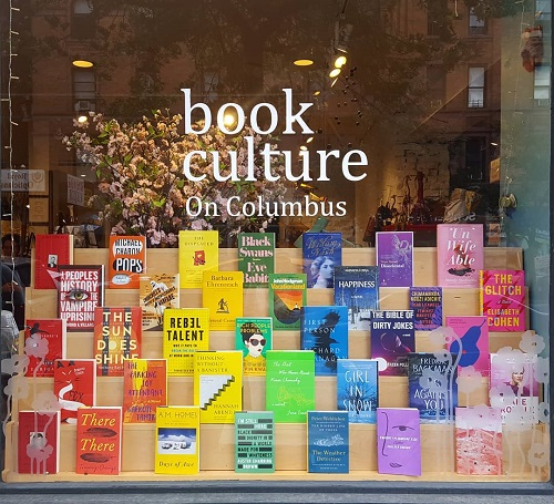 Book Culture's rainbow window display for Pride