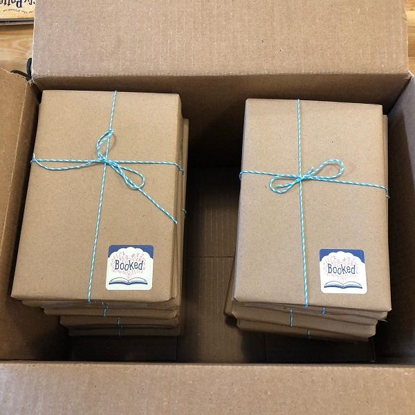 Wrapped copies of Ghost at Booked in Evanston, Illinois.