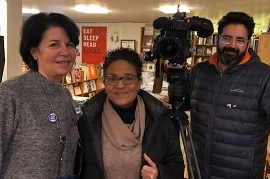 Reporter LeeAnn Trotter with owner Nina Barrett at Bookends & Beginnings in Evanston, Illinois.