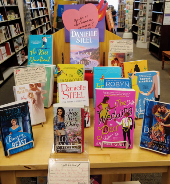 The romance section at Books Inc.