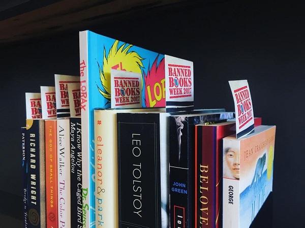 The Bookshelf in Thomasville, Georgia, stuck Banned Books Week bookmarks in titles on display.