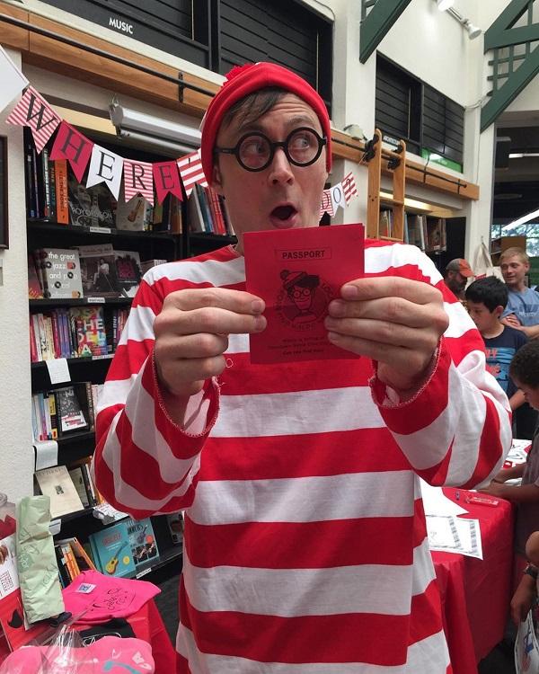 A bookseller dressed as Waldo at Bookshop Santa Cruz.