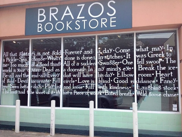 Brazos Bookstore in Houston, Texas, unveiled its newly designed literary windows by artist Sara Hinkle.