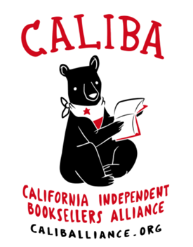 CALIBA: California Independent Booksellers Alliance, caliballiance.org, plus image of a black bear in a scarf reading a book