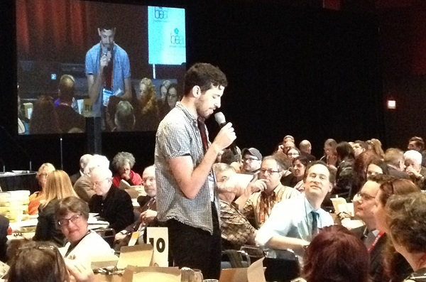 Author Adam Silvera, a recipient of the Young Adult Honor Book Award, thanks booksellers.