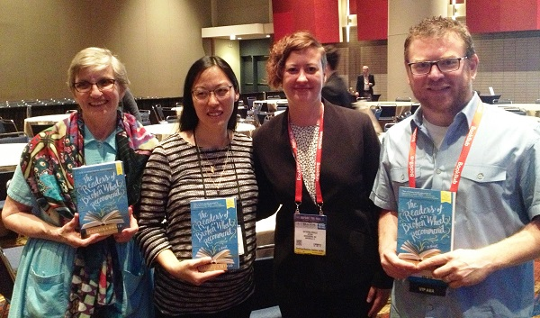 Booksellers Barbara Theroux, Melinda Powers, and Robert Sindelar with Indie Next List author Katarina Bivald.