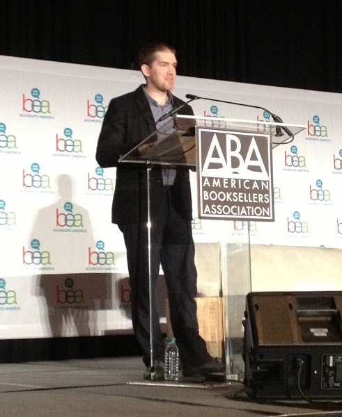 Picture book author and illustrator Ryan T. Higgins accepts the E.B. White Read-Aloud Picture Book Award.