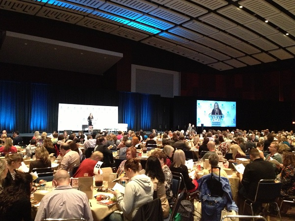 Booksellers filled the ballroom for the Celebration of Bookselling and Author Awards Luncheon, emceed by Annie Philbrick.
