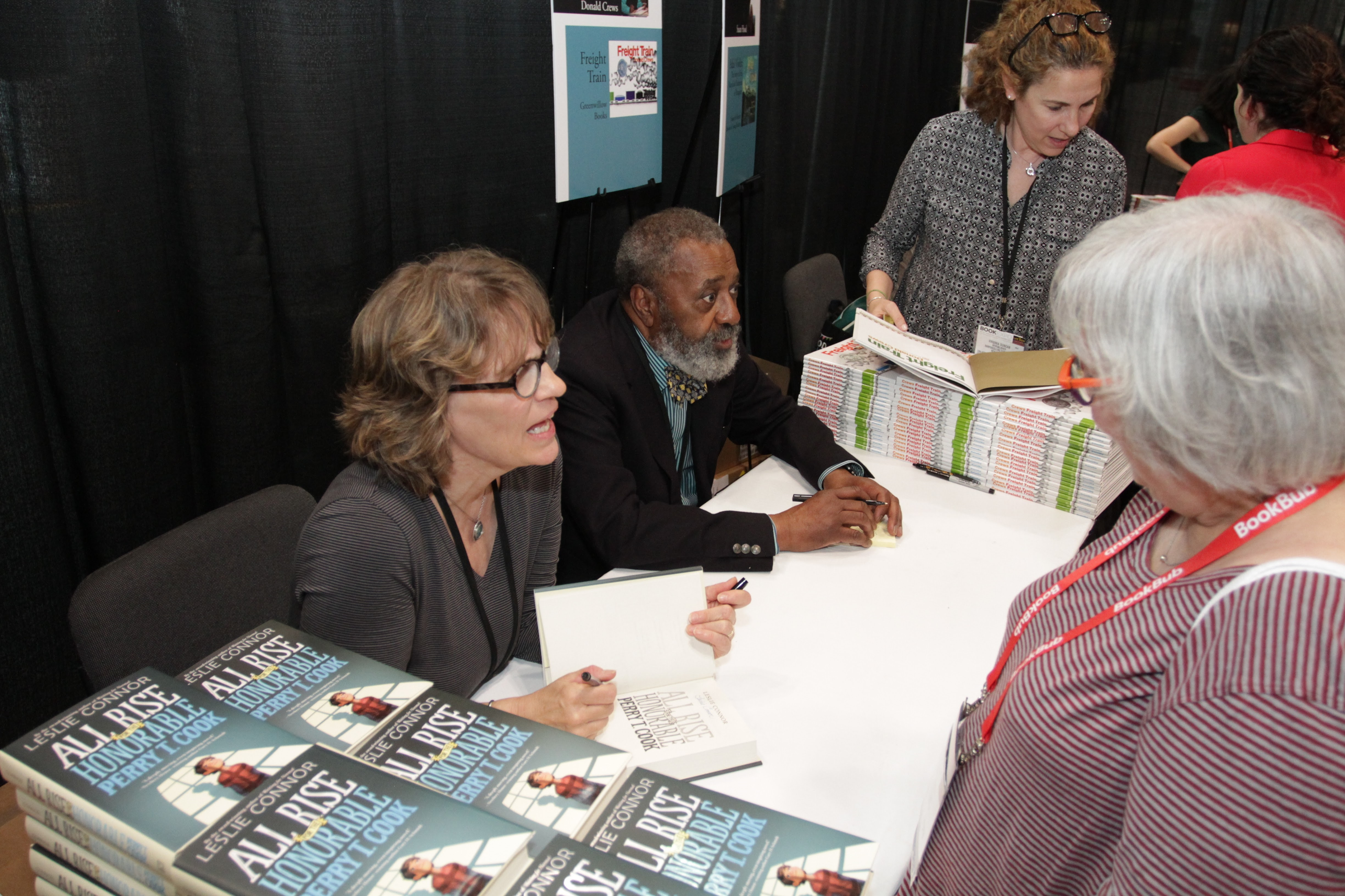 Leslie Connor and Donald Crew sign copies of their books in the ABA Lounge following the lunch.