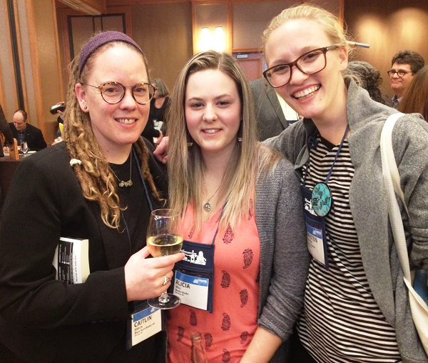 Booksellers Caitlin Jesson, Alicia Neill, and Christen Thompson at the Author Reception.
