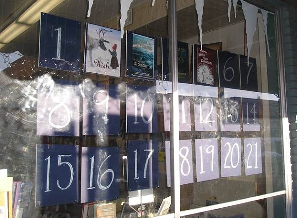 Chapter One's window features an advent calendar of books during the holidays.