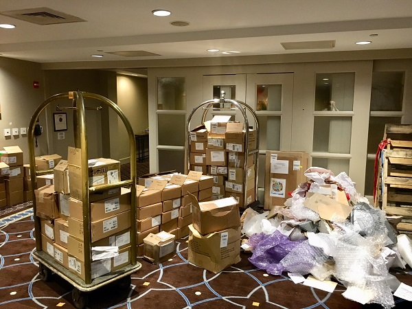Some of the 800 boxes that ABA staff opened in preparation for the Author Reception.