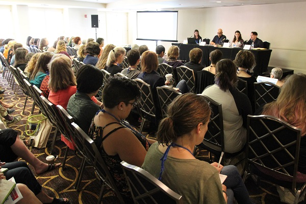 Booksellers filled the room for the education session on reaching underserved communities.