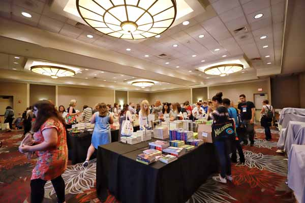 Hundreds of books greeted booksellers who visited the galley room at Ci7.