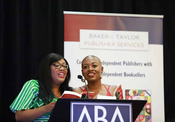"Sisters Maritza Moulite and Maika Moulite, authors of ""Dear Haiti, Love Alaine"" at the Indies Introduce breakfast."