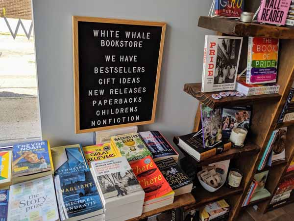 Book display at White Whale