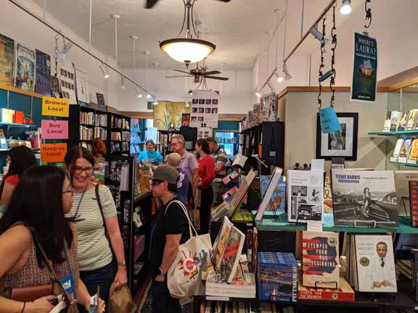 Bustling interior of Classic Lines bookstore