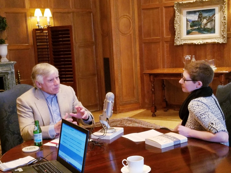 Columbia University president Lee Bollinger chats with ABA's Sydney Jarrard.