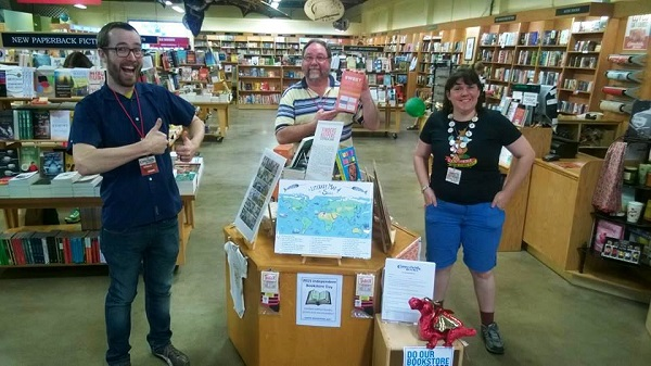 Booksellers Chad Elliot Scherbarth, David E. Johnson, and Belinda Roddi at Copperfield's San Rafael, California, store.