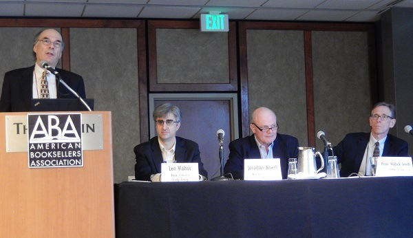Data Watchers panelists Len Vlahos of BISG, Jonathan Nowell of Nielsen BookScan, and Peter Hildick-Smith of Codex Group.