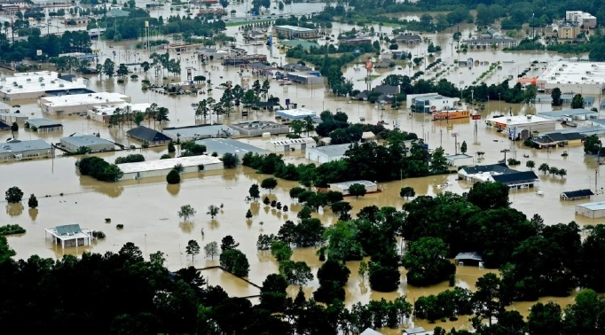 Much of the city of Denham Springs, Louisiana, was underwater after the catastrophic flood event of August 2016.