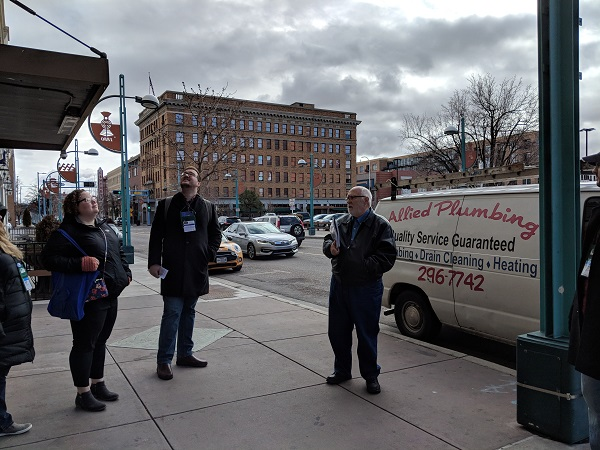 Booksellers take a walking tour of downtown Albuquerque.