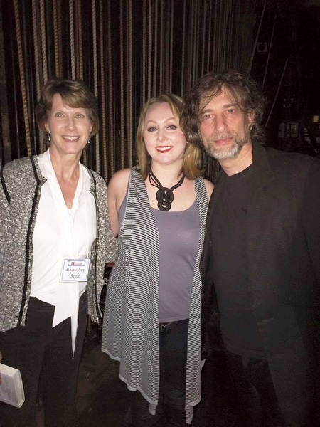 Doylestown Bookshop's Glenda Childs and Krisy Paredes with Neil Gaiman at an offsite event.
