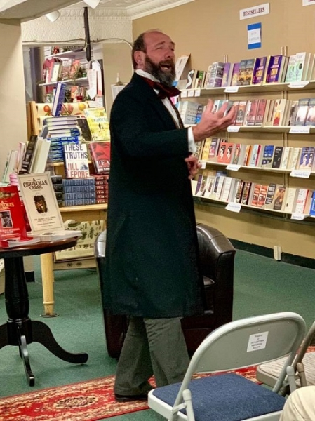 The great-great-grandson of Charles Dickens performing at Doylestown Bookshop.