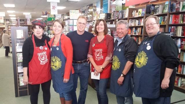 Mary Kay Andrews, Carolyn Dingman, Charles McNair, Lynn Cullen, Hank Klibanoff, and Collin Kelley at Eagle Eye Bookstore