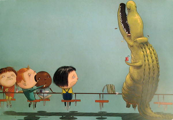 "Digital print from ""If You Ever Want to Bring an Alligator to School, Don't!"" byElise Parsley."
