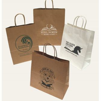 Paper shopping bags featuring bookstore names/logos