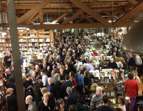 Booksellers, publishers, and authors gather at Elliott Bay Book Company during Wi9's Opening Reception.
