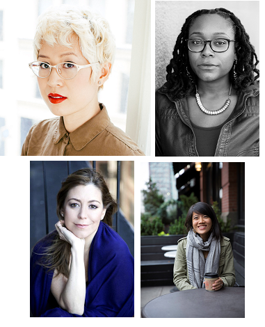 Clockwise from top left: Esmé Weijun Wang, Margaret Wilkerson Sexton, Karina Yan Glaser, and Rachel Vail