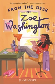 The cover image for From the Desk of Zoe Washington, which features a young girl at her desk reading a letter.