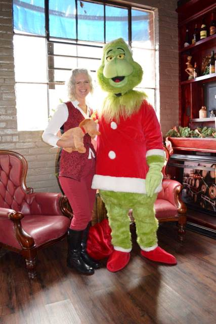 Natasha Wing with the Grinch at Old Firehouse Books