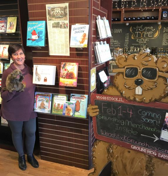Bookseller Arlene Lynes has groundhog books and merchandise ready for visitors.