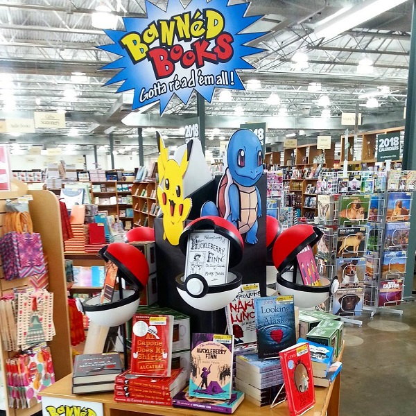 Half Price Books' Banned Books Week display.
