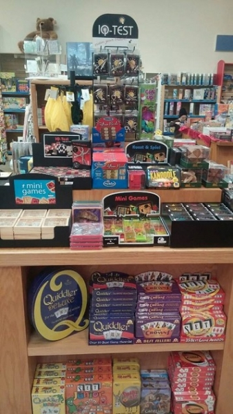 A selection of card games and brainteasers at Hearthside Books & Toys in Juneau, Alaska