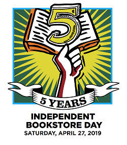 The Independent Bookstore Day Logo, which features a hand holding a book with the number 5 superimposed on it, in honor of the events fifth anniversary.