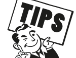 "Cartoon character holding ""Tips"" sign"