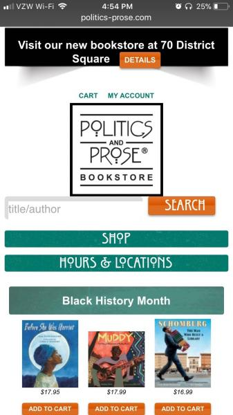 Mobile website for Politics and Prose Bookstore