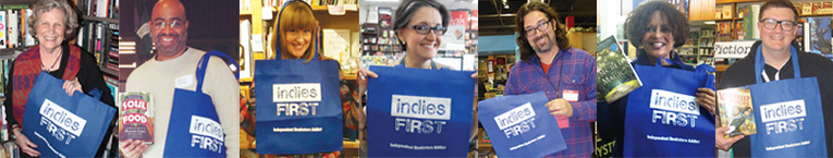 Authors with Indies First bags