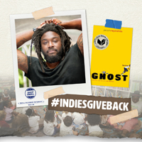 Jason Reynolds author photo, Ghost book cover, #indiesgiveback