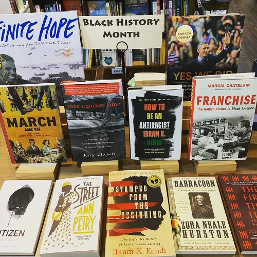 An array of titles on display in honor of Black History Month