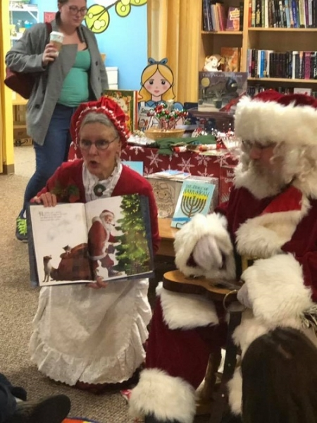 Storytime with Mr. and Mrs. Claus at Jack and Allie's in Connecticut.