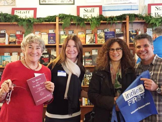 Jeannette Franks, Susan Wiggs, and Andrea and Garth Stein at Eagle Harbor Book Company