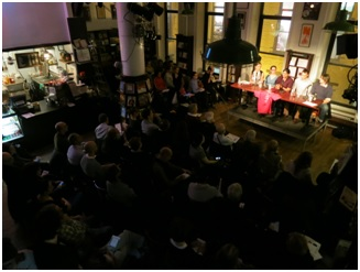 At Housing Works Bookstore Café, a panel of experts discussing options for authors in the digital age with over 100 attendees.