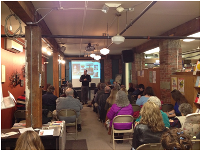The eBook workshop at Village Books featuring local author Robert L. Slater and KWL director Mark Lefebvre.