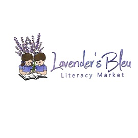 Lavender's Bleu Literacy Market logo, two children reading a book together