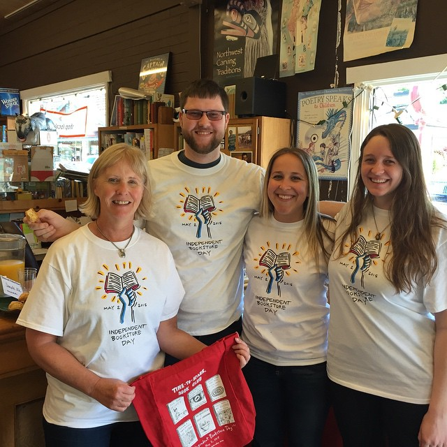 Booksellers at Liberty Bay Books in Poulsbo, Washington, celebrated the day in full Independent Bookstore Day regalia.